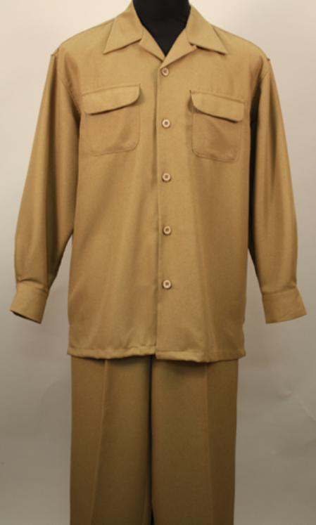SKU#PM0028 Verona-Tan 2 Pc Long Sleeve Shirt and Pants Set $115