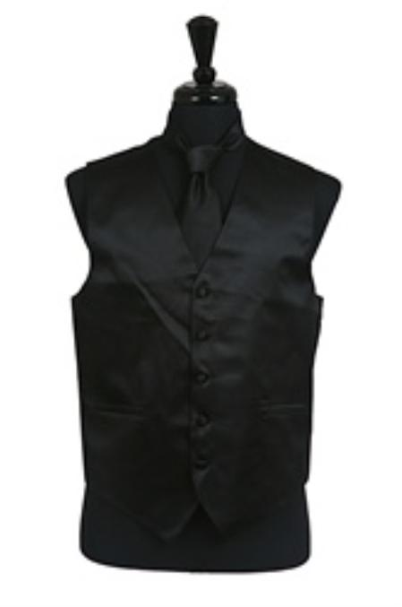 SKU#VS1010 Vest Tie Set Black
