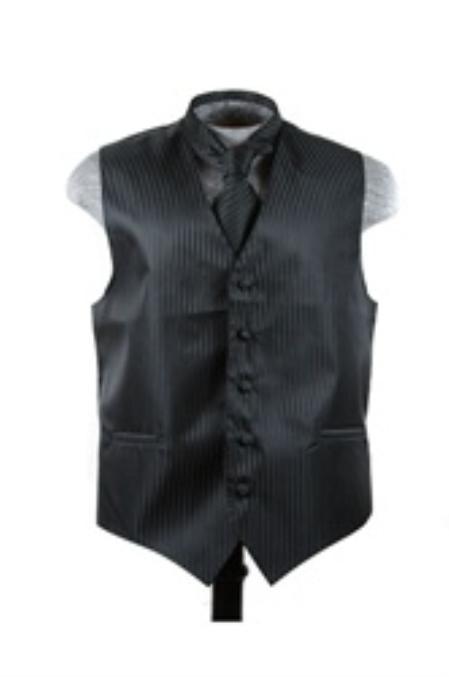SKU#VS6259 Vest Tie Set Black