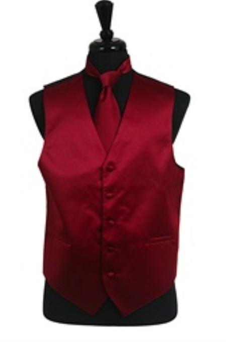 SKU#VS1014 Vest Tie Set Burgundy ~ Maroon ~ Wine Color