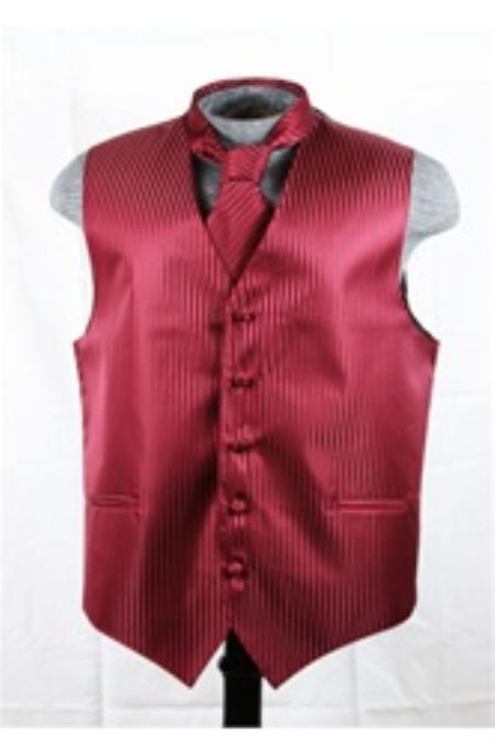 SKU#VS6257 Vest Tie Set Burgundy ~ Maroon ~ Wine Color