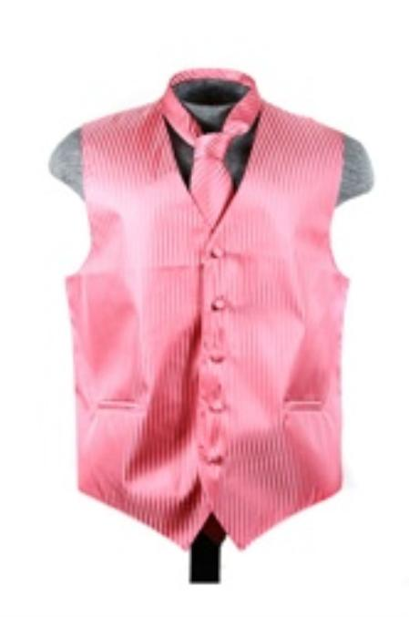 SKU#VS6250 Vest Tie Set Coral ~ Peach