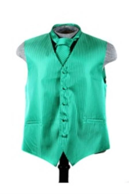 SKU#VS6255 Vest Tie Set Emerald