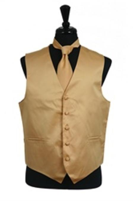 SKU#VS1038 Vest Tie Set Gold