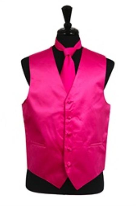SKU#VS1018 Vest Tie Set Hot Pink