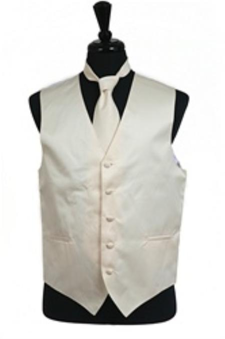 SKU#VS1034 Vest Tie Set Ivory