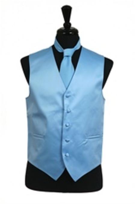 SKU#VS1024 Vest Tie Set Light Blue $39