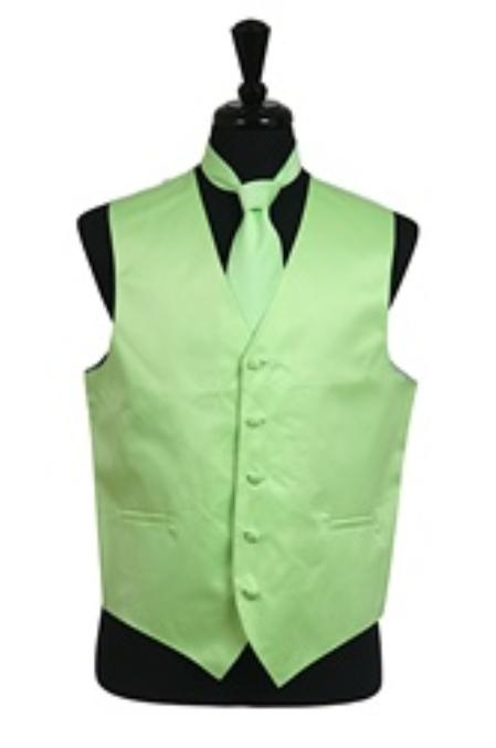 SKU#VS1036 Vest Tie Set Mint Green $39