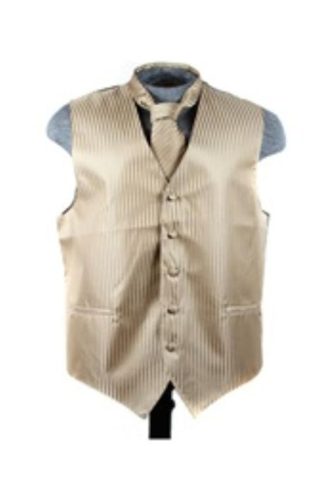 SKU#VS6254 Vest Tie Set Mocha