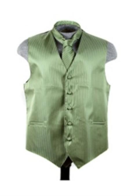SKU#VS6452 Vest Tie Set Olive $49