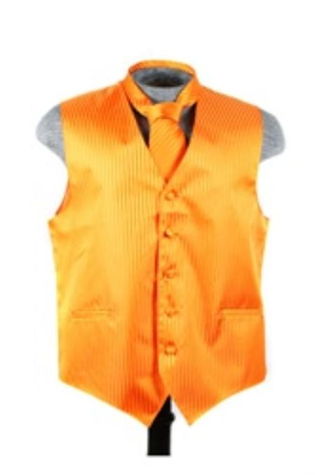 SKU#VS6279 Vest Tie Set Orange
