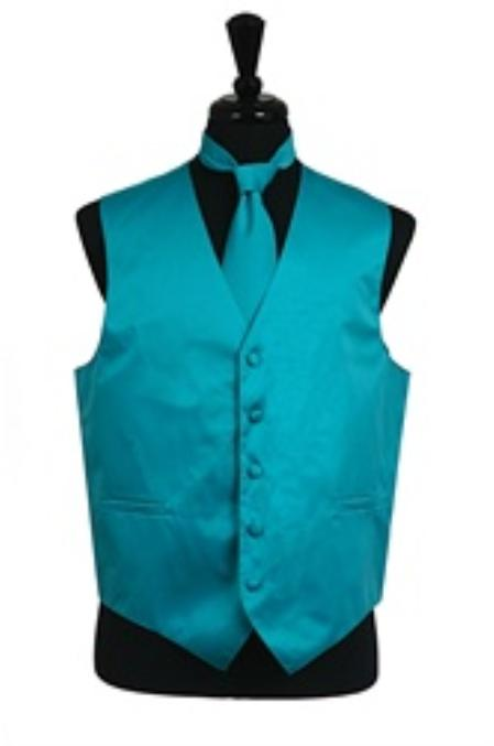 SKU#VS1028 Vest Tie Set turquoise ~ Light Blue Stage Party