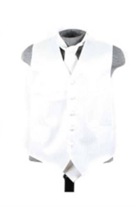 SKU#VS6559 Vest Tie Set white