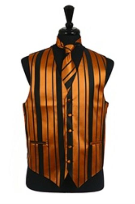 SKU#VS4014 Vest/Tie/Bowtie Sets (Black-Gold Combination) $39