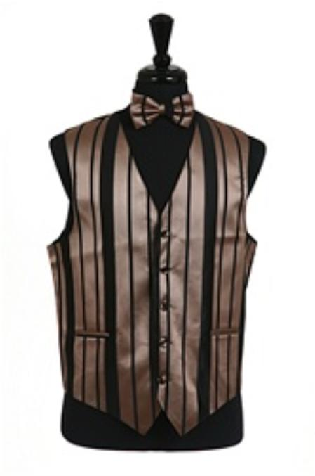 SKU#VS4012 Vest/Tie/Bowtie Sets (Black-Mocha Combination)