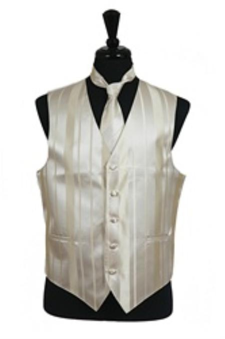SKU#VS4022 Vest/Tie/Bowtie Sets (Champagne Tone on Tone) $39