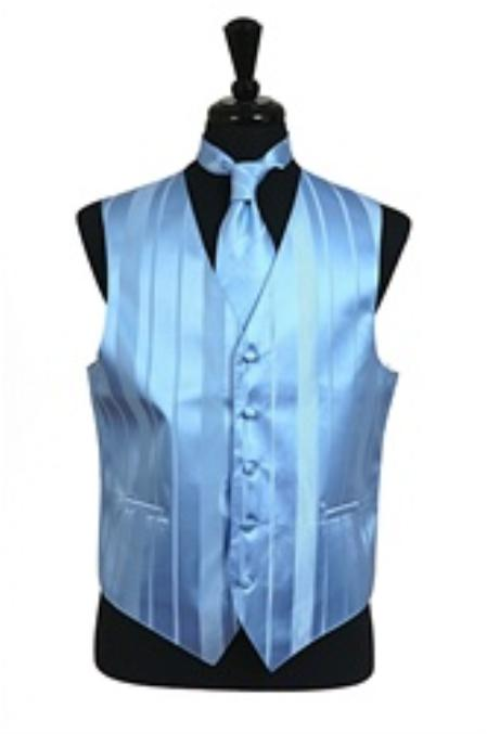 SKU#VS4018 Vest/Tie/Bowtie Sets (Light Blue Tone on Tone)