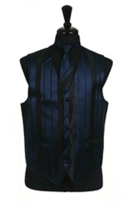 SKU#VS4016 Vest/Tie/Bowtie Sets (Navy Blue-Black Combination)