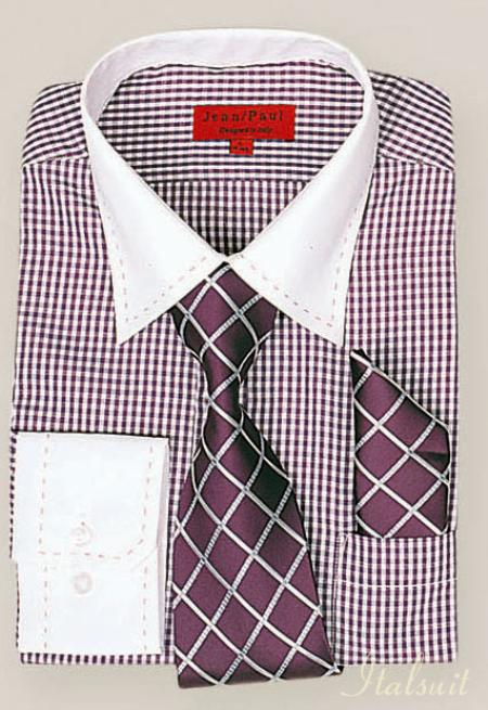 SKU#TV2912 Violet Shirt Tie and Hankie Set $65