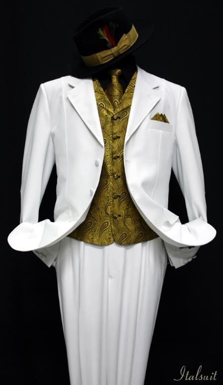 SKU#WX8921 White-Gold 3pc Fashion Zoot Suit $210