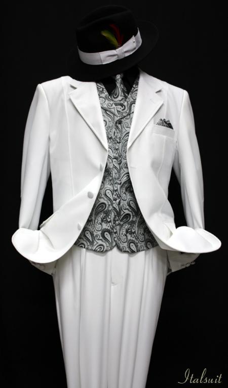 SKU#QG9921 White-Gray 3pc Fashion Zoot Suit $210
