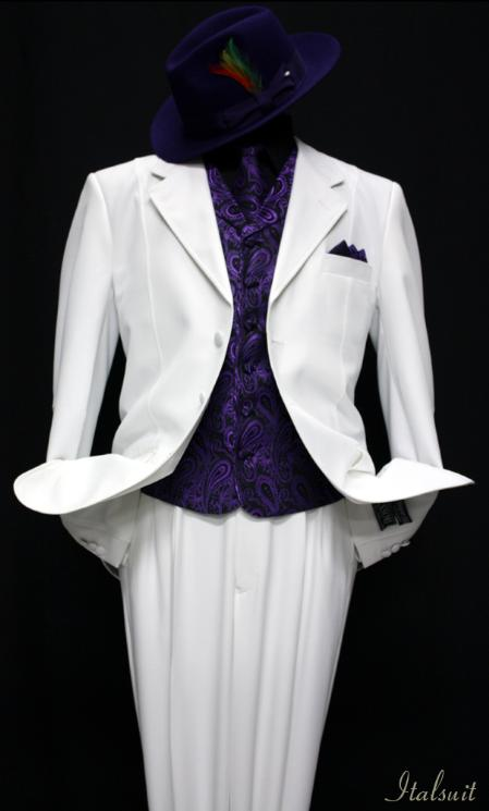 SKU#VZ9901 White-Purple 3pc Fashion Zoot Suit $210