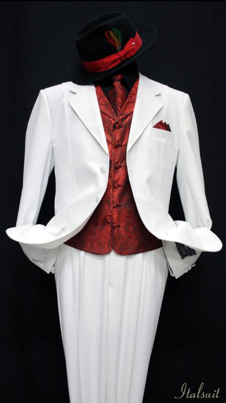 SKU#IN5478 White-Red 3pc Fashion Zoot Suit $210