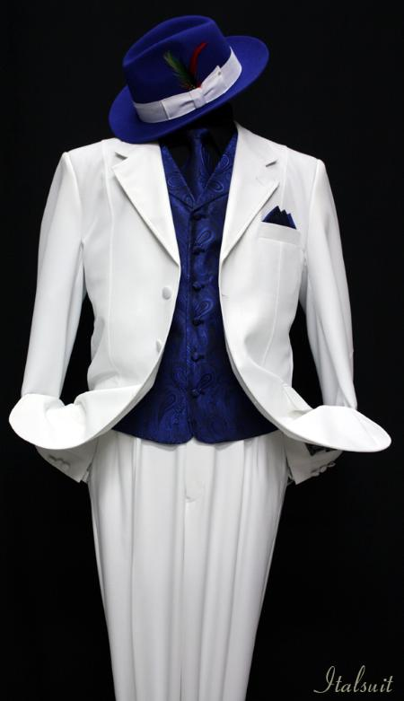 SKU#WR4321 White-Royal 3pc Fashion Zoot Suit $210