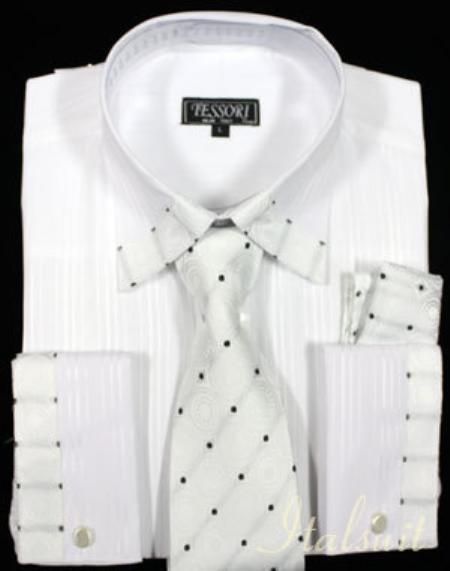 SKU#WQ2112 White Shirt Tie and Hankie Set $65