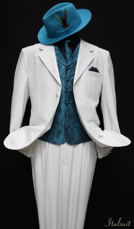 SKU#GM7811 White-Turquiose 3pc Fashion Zoot Suit $210
