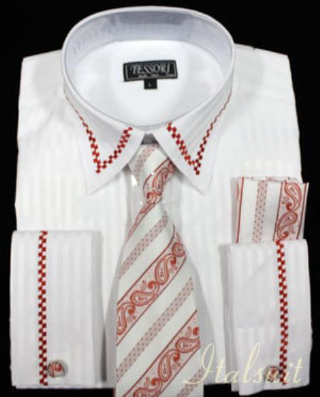 SKU#AZ1678 White with Red Trim Shirt Tie and Hankie Set French Cuff with Cufflink $65
