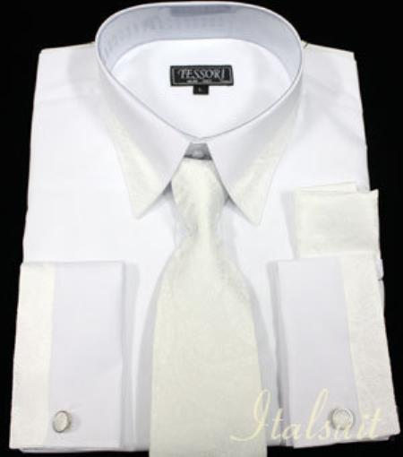 SKU#WH6736 White with White Trim Shirt Tie and Hankie Set French Cuff With Cufflink $65