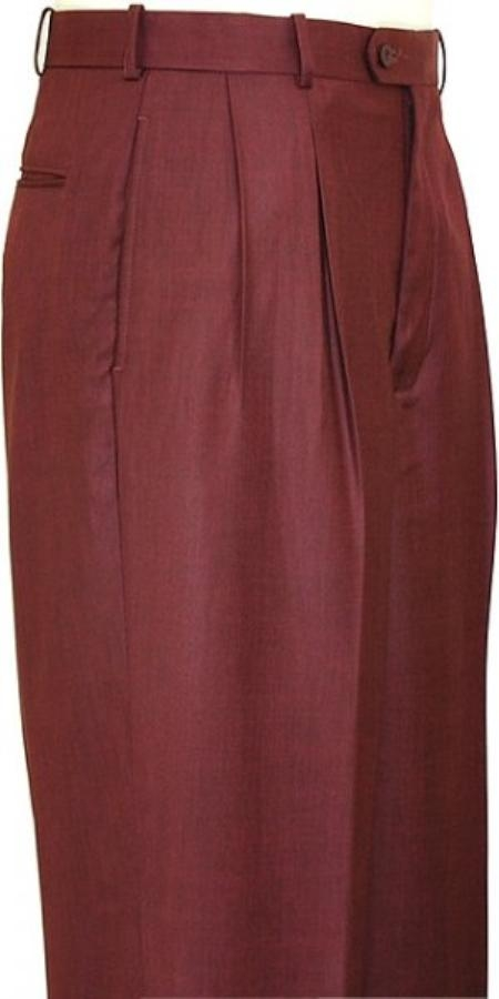 Sku Fe0028 Wine Wide Leg Slacks Pleated Baggy Dress Trousers