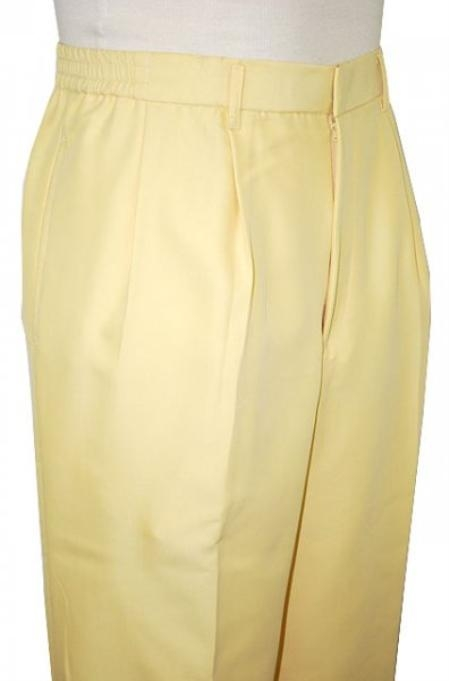 SKU#AL3822 Yellow 22 inch Wide Leg Slacks Pleated baggy dress trousers $59
