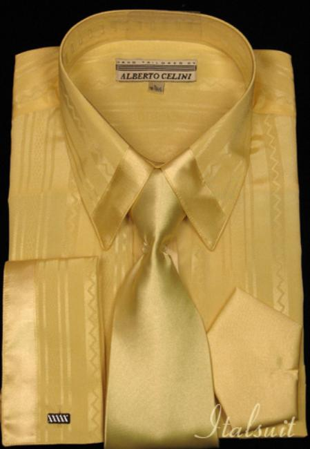 SKU#WE4343 Yellow Satin Shirt Tie and Hankie Set $65