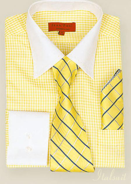 SKU#GC2990 Yellow Shirt Tie and Hankie Set $65