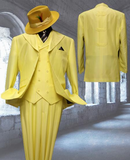 SKU#XY6822 Yellow Tone on Tone 3pc Fashion Zoot Suit $250