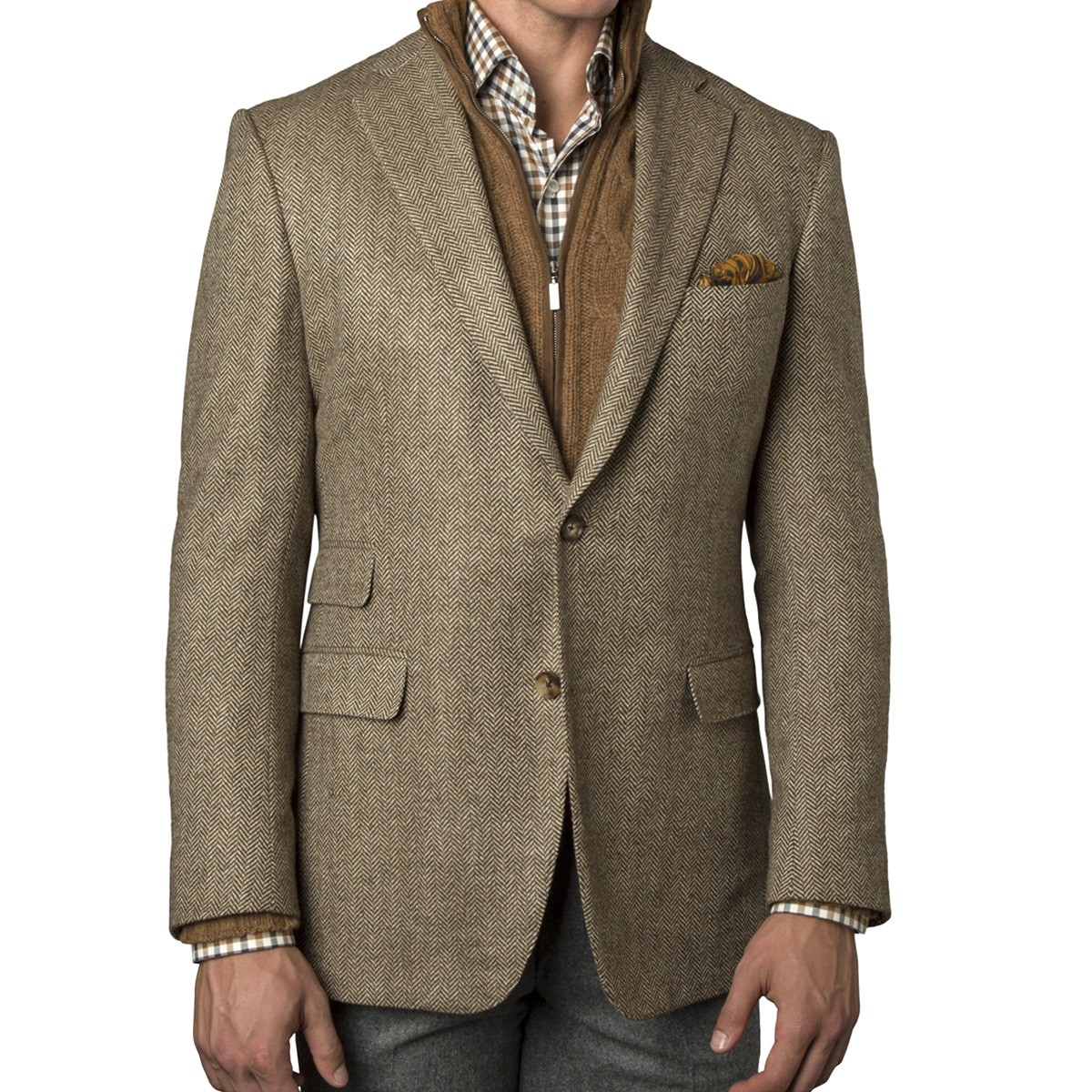 Our Collection sportcoats feature fine vintage details with a modern approach creating classic looks that will complete your dress- and professional-wear look. Tailored fit. Two button, side vent, notch lapel. Patterned poly blend lining. Three inch lapel. Soft shoulder construction.