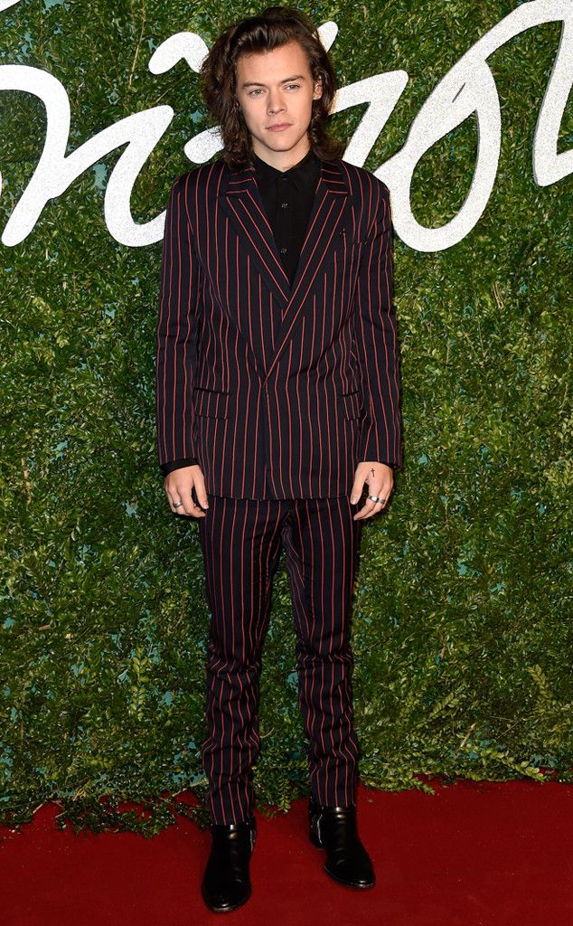 Red Suits - Harry Styles in Black and Red Pinstripe Suit