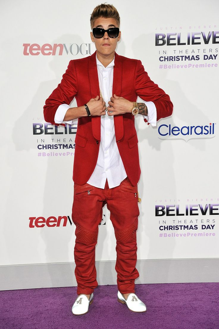 Red Suits - Justin Bieber in Red Jacket at Red Carpet Event
