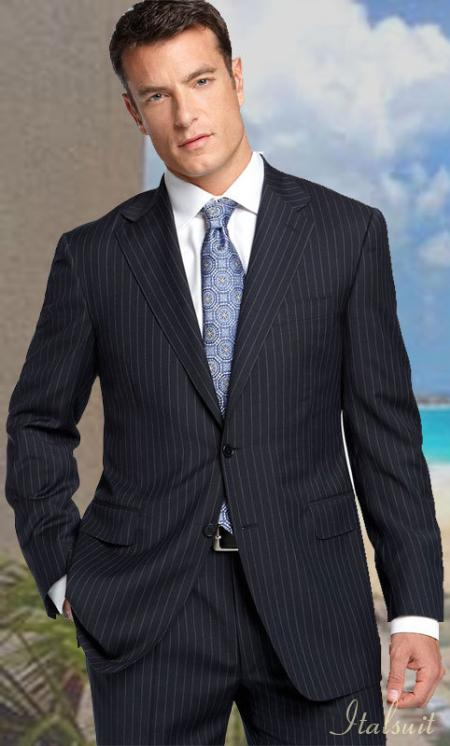 Mens 2-Button Suit in Charcoal Grey Pinstripe. MensUSA Coupon Codes and Coupons - Shop Men's Suit Promo