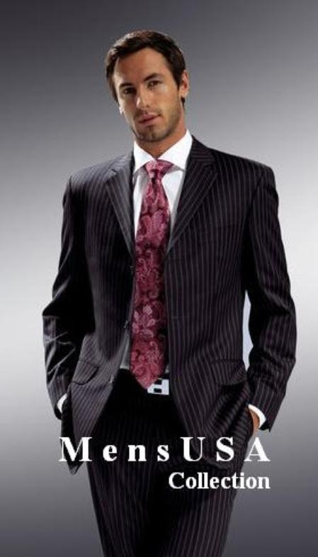 Mens 3-Button Suit in Black Pinstripe. MensUSA Coupon Codes and Coupons - Shop Men's Suit Promo
